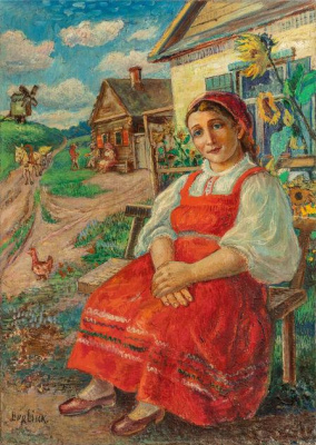 Давид Давидович Бурлюк. Женщина в красном платье