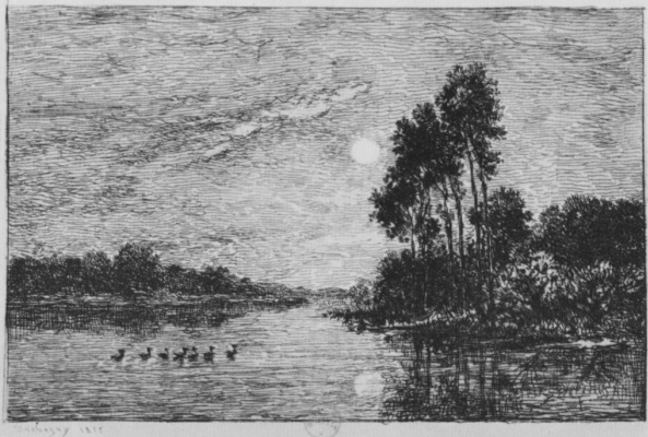 Charles-Francois Daubigny. Moonrise on the banks of the Oise