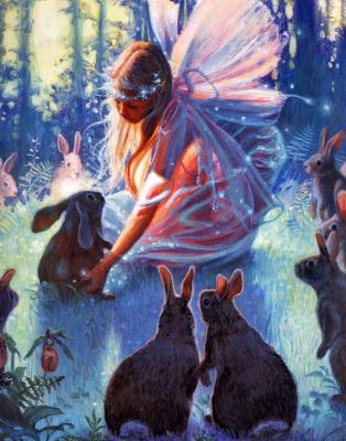 Донна Грин. Маленькая девочка и кролики