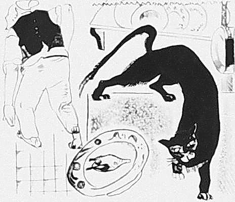 Alexander Alexandrovich Deineka. The Cook and the cat (illustration to the fable of Krylov)