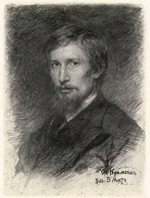 Vasily Vasilyevich Mate. Portrait Of V. M. Vasnetsov.1898 etching