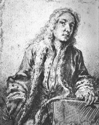 Francois Boucher. Portrait Of Antoine Watteau