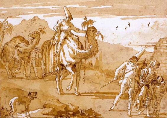Giovanni Domenico Tiepolo. Pulcinella leads the caravan on camels