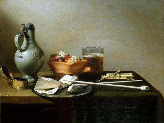 Питер Клас. Натюрморт с глиняными трубками, табаком и кувшином