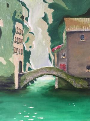 Larisa Benko. View of the bridge with the monastery