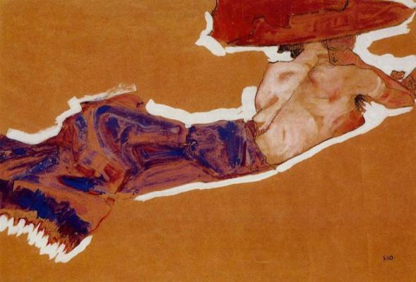 Эгон Шиле. Лежащая обнаженная в красной шляпе (Гертруда Шиле)