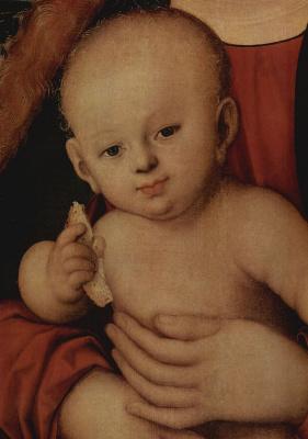 Лукас Кранах Старший. Мадонна с младенцем под яблоней. Младенец Христос (фрагмент)