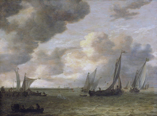 Jan van Goyen. River estuary with sailing boats