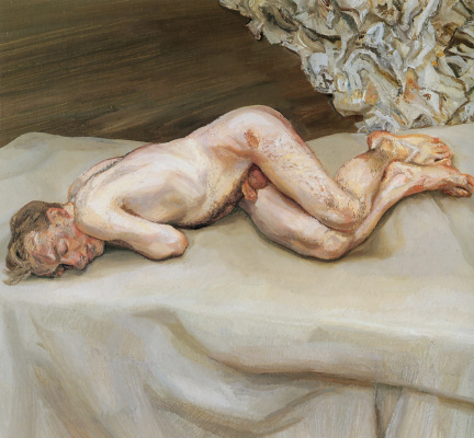 Lucien Freud. Nude on the bed