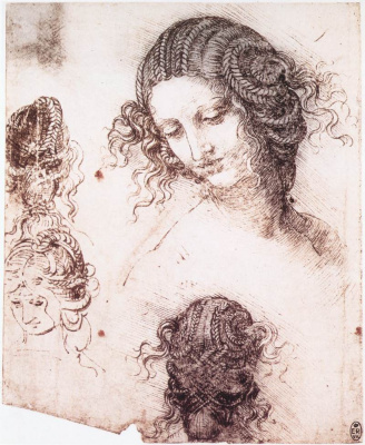 Leonardo da Vinci. Head of Leda (outline)