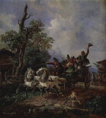 Иоанн Генрих Бюркель. Пейзаж с крестьянской телегой