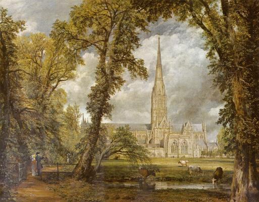 Вид на собор в Солсбери из епископского сада
