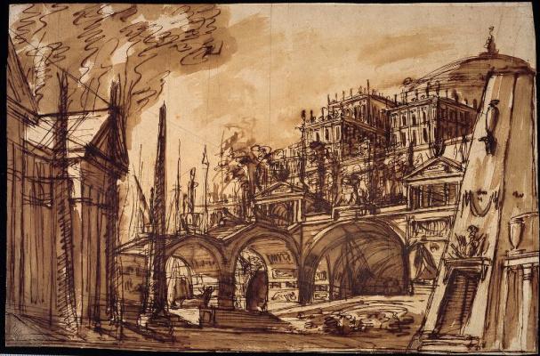 Пьетро ди Готтардо Гонзага. Эскиз декорации с обелиском