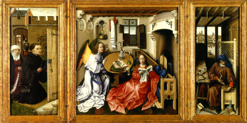 Robert Kampen. The Altar Of Merode. The Annunciation Of The Blessed Virgin. Central scene: the Annunciation, left wing: Donors, right wing: Joseph in the workshop