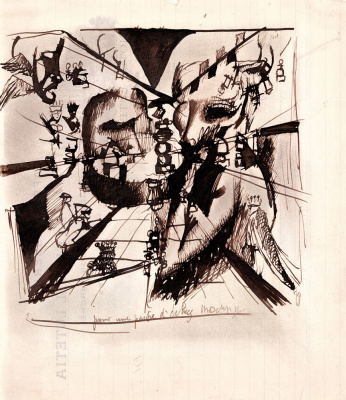 """Marcel Duchamp. Study for """"Portrait of Chess Players"""""""