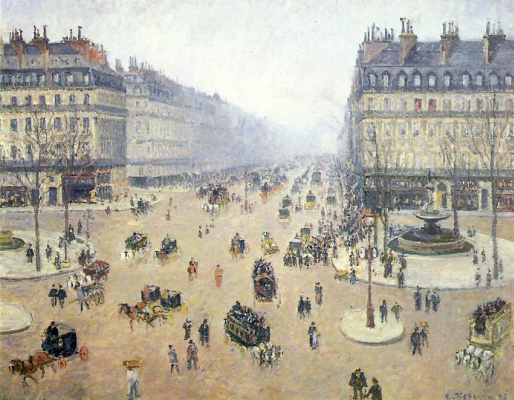 Camille Pissarro. Avenue de Opera, Plaza of the French Theater in the mist