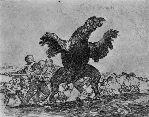 "Francisco Goya. The series ""disasters of war"", page 76: Feeding on the bodies of the vulture"