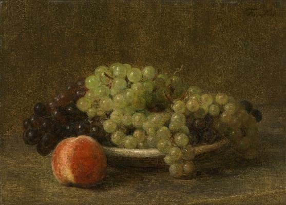 Анри Фантен-Латур. Натюрморт с виноградом и персиками