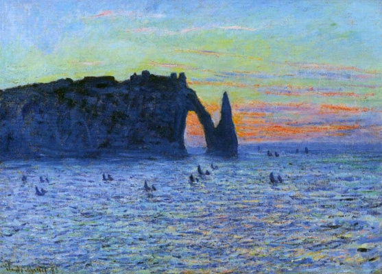 Claude Monet. Etretat, the cliff and the Porte d Aval Sunset