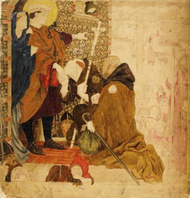 Форд Мэдокс Браун. Святой Освальд, отправляющий миссионеров в Шотландию (акварель)