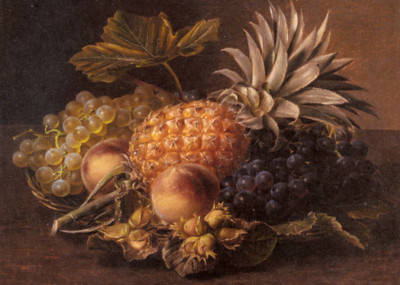 Йохан Лоренц Дженсен. Виноград, ананас и персики в корзине