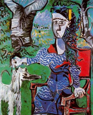 Пабло Пикассо. Женщина с собакой под деревом