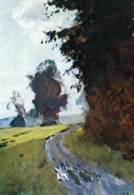 Isaac Levitan. Evening. Road