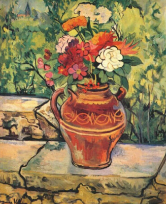 Suzanne Valadon. A vase of flowers on low wall