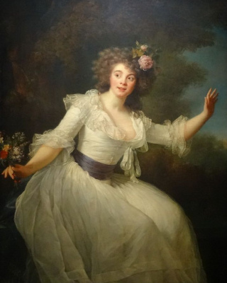 "Elizabeth Vigee Le Brun. Portrait of the actress Louise-Rosalie Dugazon in the role of Nina in the Opera of Nicolas Dalarna ""Crazy love"""