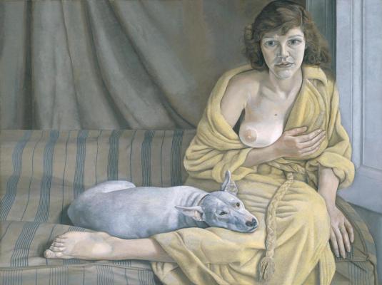 Девушка с белой собакой