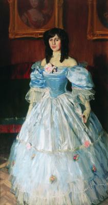 Boris Mikhailovich Kustodiev. Portrait of a woman in blue (Portrait of M. P. Sudkovskiy)