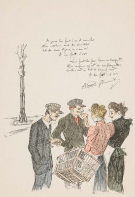 Theophile-Alexander Steinlen. Two chatting couples