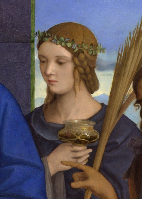 Giovanni Bellini. Madonna and Child with Saints. Fragment. Saint lucius