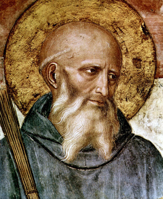 """Fra Beato Angelico. Saint Benedict. Fragment of the fresco """"The Crucifixion and Saints"""" Hall of the Chapter of the Monastery of San Marco, Florence"""