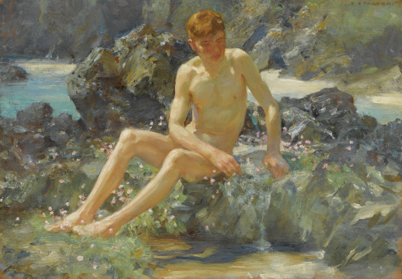 Tuke Henry Scott. 1858-1929. Nude on the rocks, ca.1917