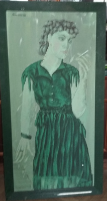 Nikolay Zverev. Lady in a green dress with a cigarette in her hands