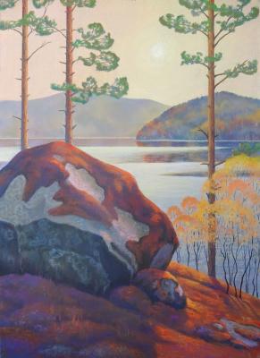 Sergey Ivanovich Elizarov. Karelia. Sunset on the lake