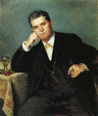 Lovis Corinto. Portrait of Franz Heinrich with a glass of wine