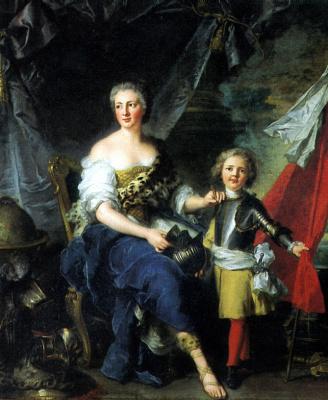 Жан-Марк Наттье. Мадемуазель де Ламбес в виде Минервы, одевающая доспехи своему брату графу де Брион