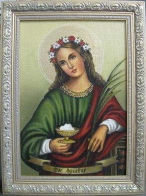 Ядвига Сенько. Святая Агата - икона католическая (холст,масло)