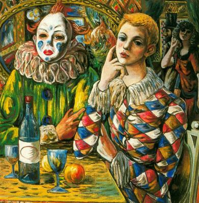 Рафаэль Сабалета. Арлекин и клоун с маской