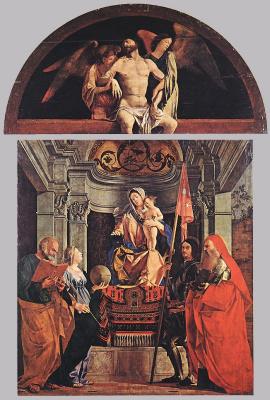 Lorenzo Lotto. Madonna and child with Saint Peter