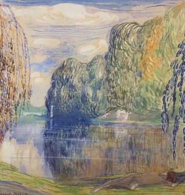"Victor Elpidiforovich Borisov-Musatov. Pond. Study for the painting ""Daphnis and Chloe"""