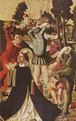 Маркс Райхлих. Алтарь Иакова и Стефана, правая внутренняя створка, сцена внизу. Побиение камнями св. Стефана