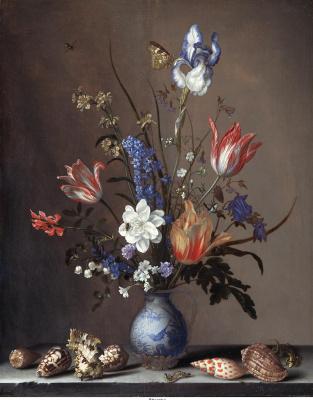 Baltazar van der Ast. Flowers in a vase van Lee and shell