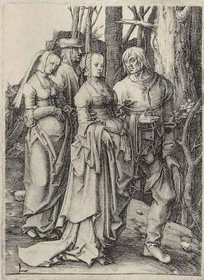 Lucas van Leiden (Luke of Leiden). Two couples in a forest