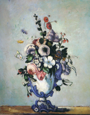 Поль Сезанн. Цветы в вазе рокко