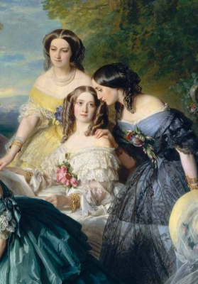 Franz Xaver Winterhalter. The Empress Eugenie with her ladies in waiting. Fragment