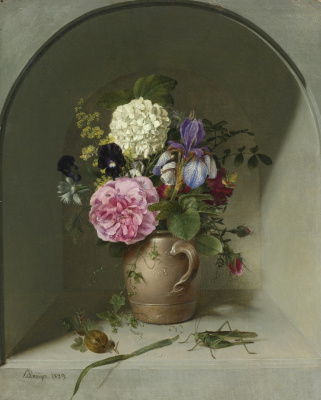 Johann Wilhelm Prairie. Flowers in a clay jug in a niche with a grasshopper. 1829