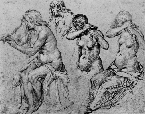 Jacob de Heine. Sheet of studies of Nude female figures